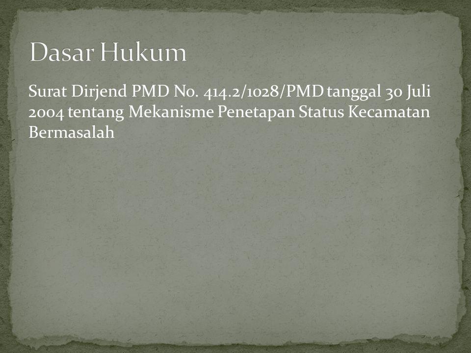Surat Dirjend PMD No. 414.2/1028/PMD tanggal 30 Juli 2004 tentang Mekanisme Penetapan Status Kecamatan Bermasalah