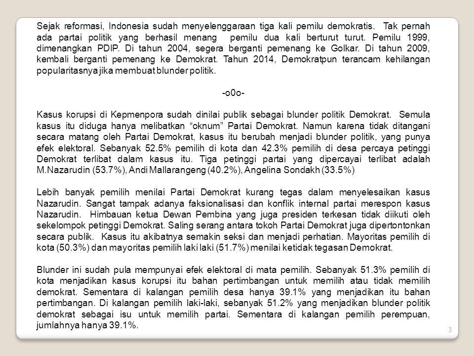 3 Sejak reformasi, Indonesia sudah menyelenggaraan tiga kali pemilu demokratis.