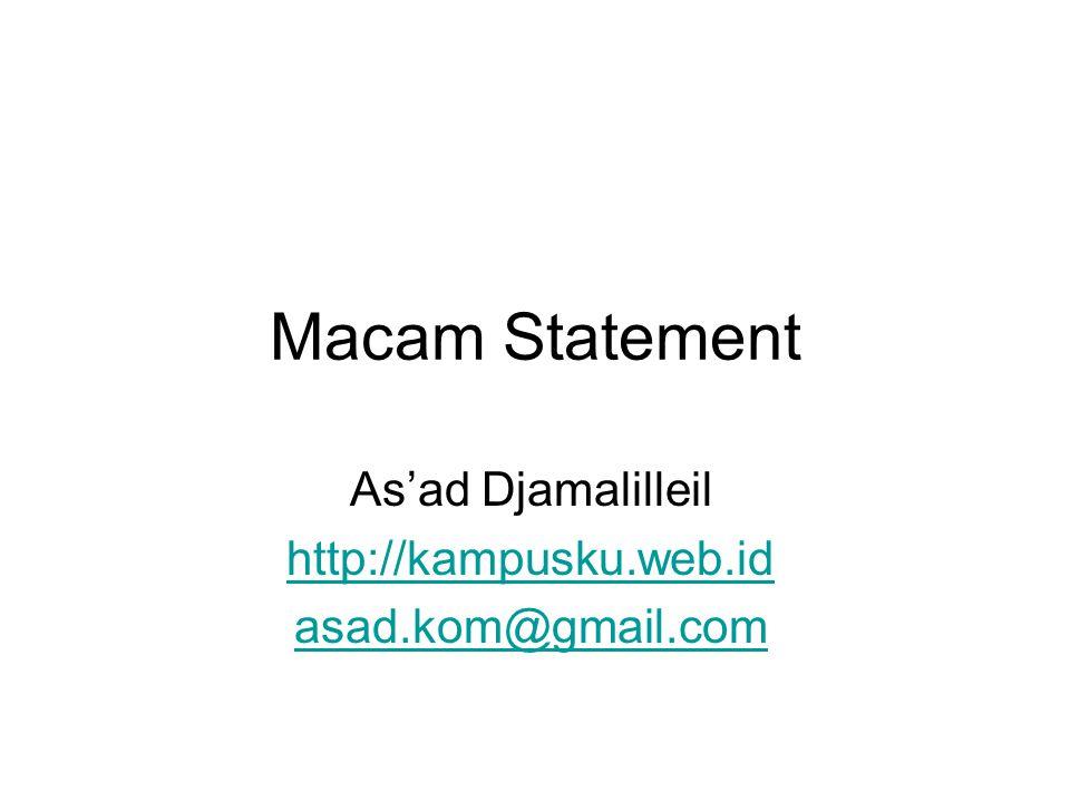 Statement (pernyataan) Statement harus diakhiri dengan tanda titik- koma (;).