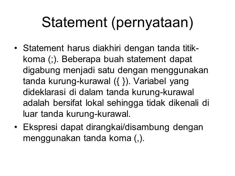 switch-case Statement switch(ekspresi) { case konstantaA: statementA; case konstantaB: statementB; …………… [default: statement_default;] } Berikut adalah bentuk umum dari statement ini: