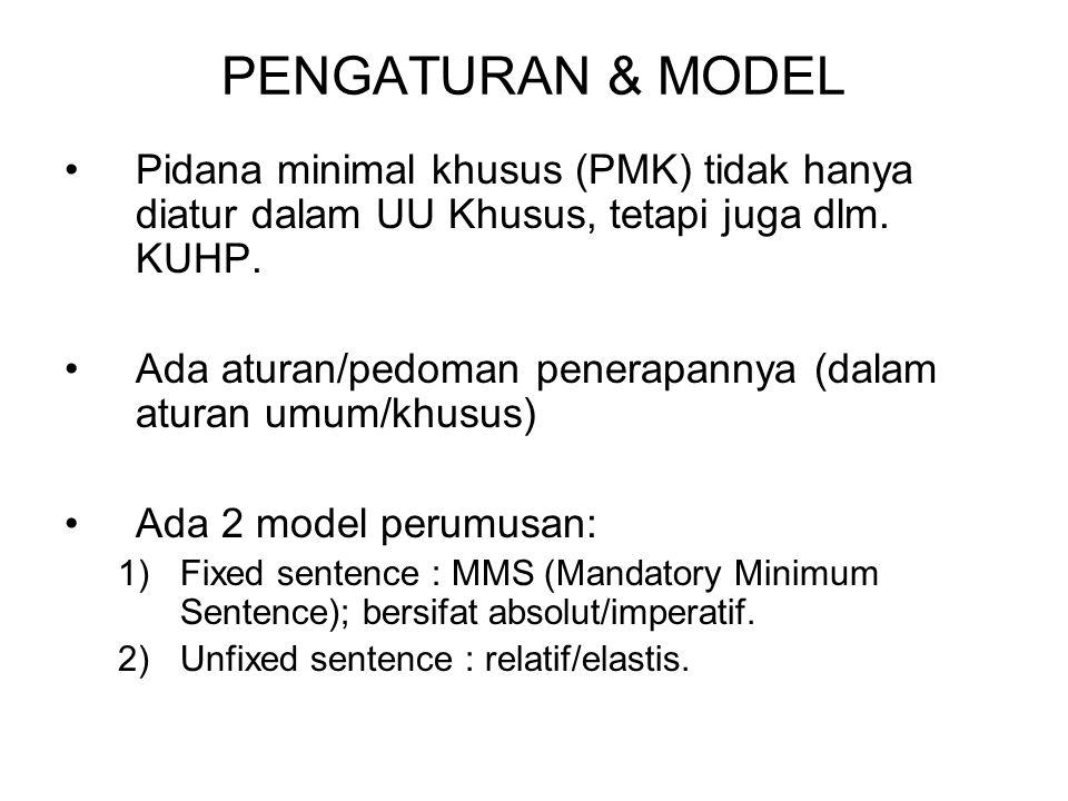 PENGATURAN & MODEL Pidana minimal khusus (PMK) tidak hanya diatur dalam UU Khusus, tetapi juga dlm.