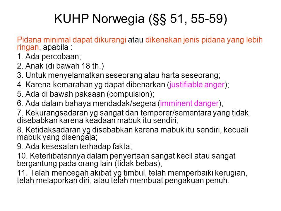 KUHP Norwegia (§§ 51, 55-59) Pidana minimal dapat dikurangi atau dikenakan jenis pidana yang lebih ringan, apabila : 1.