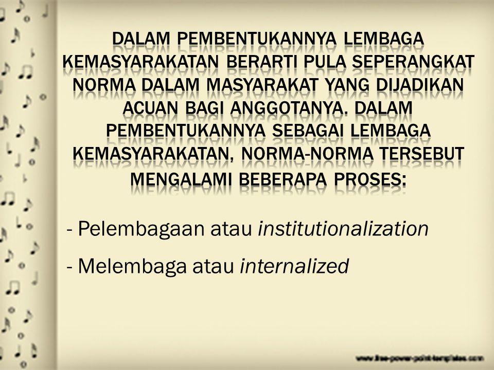 Pelembagaan atau institutionalization Melembaga atau internalized - Pelembagaan atau institutionalization - Melembaga atau internalized