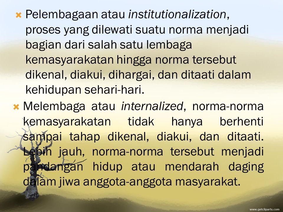 PPelembagaan atau institutionalization, proses yang dilewati suatu norma menjadi bagian dari salah satu lembaga kemasyarakatan hingga norma tersebut dikenal, diakui, dihargai, dan ditaati dalam kehidupan sehari-hari.