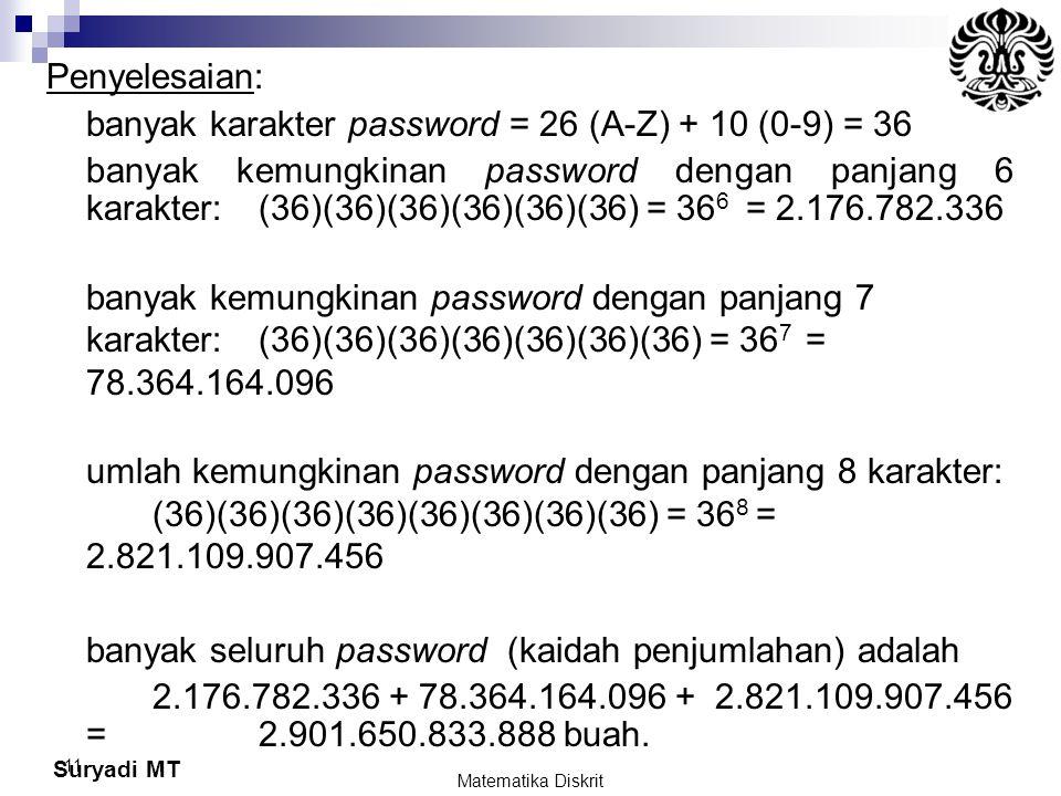 Suryadi MT 11 Penyelesaian: banyak karakter password = 26 (A-Z) + 10 (0-9) = 36 banyak kemungkinan password dengan panjang 6 karakter: (36)(36)(36)(36