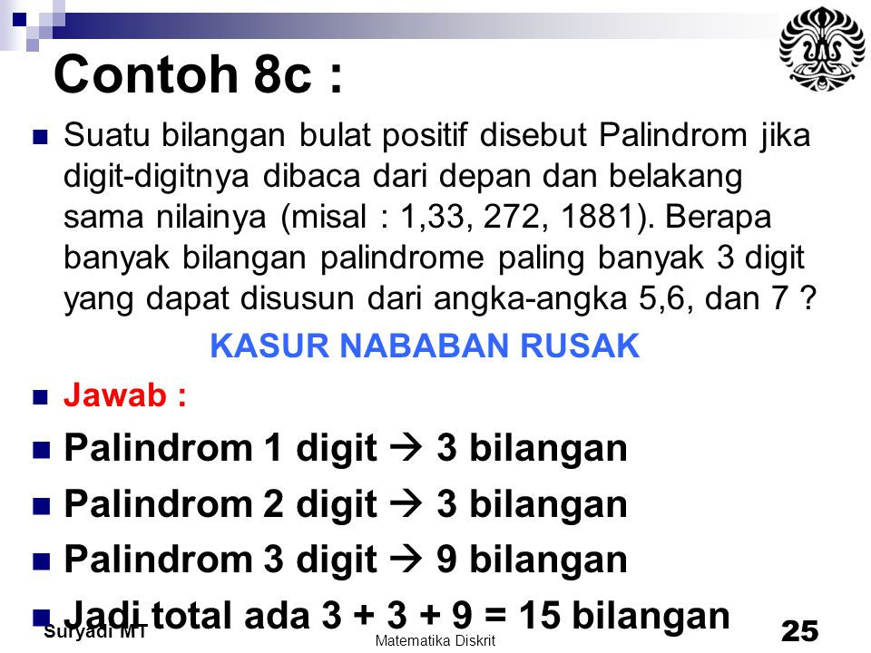 Suryadi MT Contoh 8c : Suatu bilangan bulat positif disebut Palindrom jika digit-digitnya dibaca dari depan dan belakang sama nilainya (misal : 1,33,