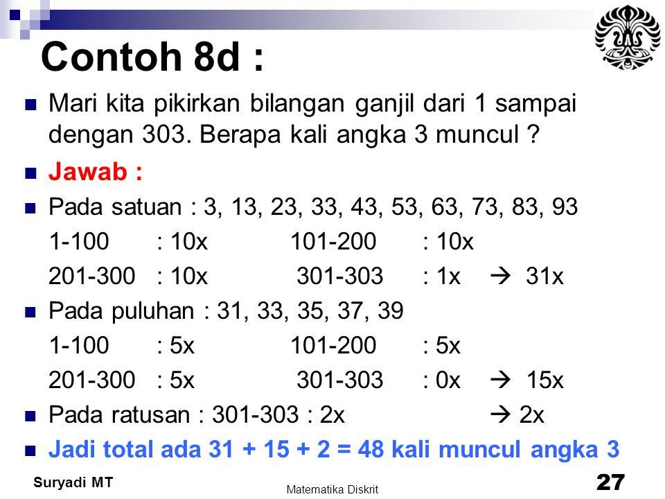 Suryadi MT Contoh 8d : Mari kita pikirkan bilangan ganjil dari 1 sampai dengan 303. Berapa kali angka 3 muncul ? Jawab : Pada satuan : 3, 13, 23, 33,