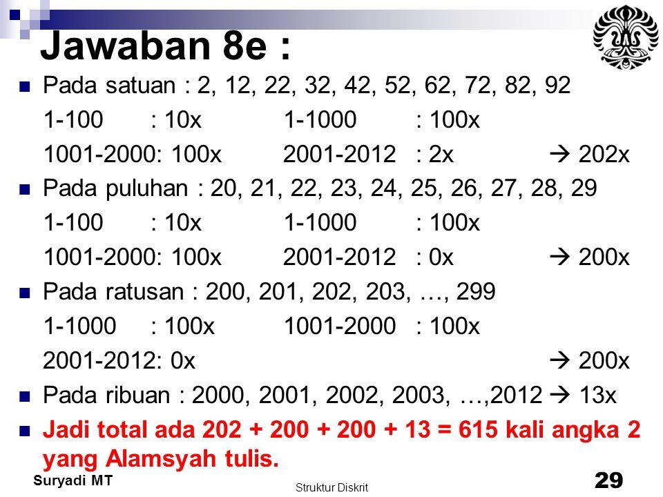 Suryadi MT Jawaban 8e : Pada satuan : 2, 12, 22, 32, 42, 52, 62, 72, 82, 92 1-100 : 10x 1-1000 : 100x 1001-2000: 100x 2001-2012: 2x  202x Pada puluha