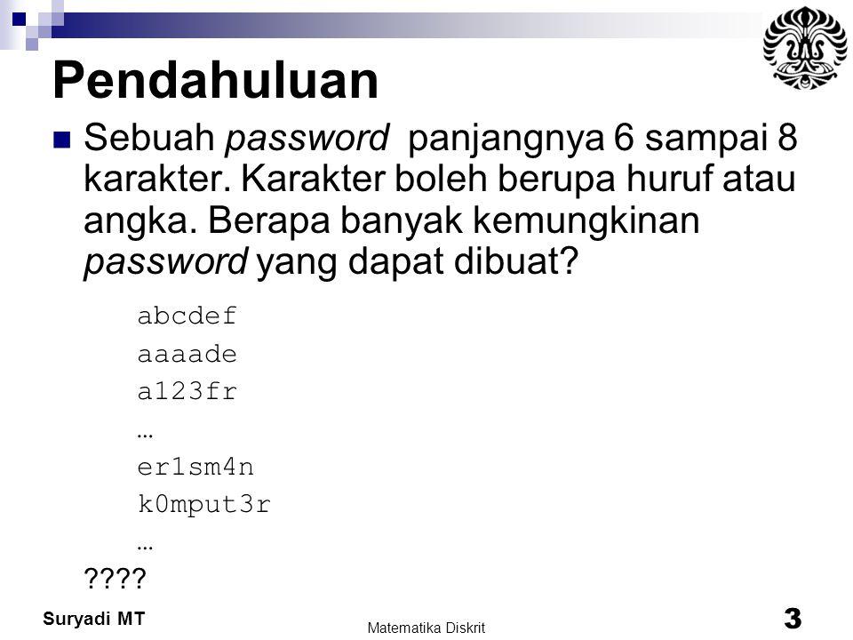 Suryadi MT Pendahuluan Sebuah password panjangnya 6 sampai 8 karakter. Karakter boleh berupa huruf atau angka. Berapa banyak kemungkinan password yang