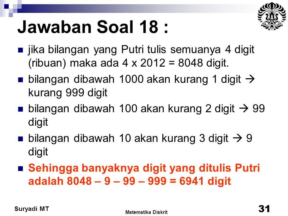 Suryadi MT Jawaban Soal 18 : jika bilangan yang Putri tulis semuanya 4 digit (ribuan) maka ada 4 x 2012 = 8048 digit. bilangan dibawah 1000 akan kuran