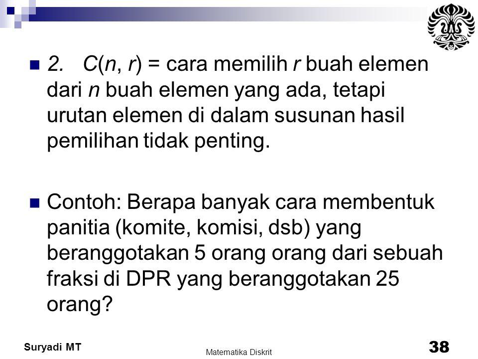 Suryadi MT 2. C(n, r) = cara memilih r buah elemen dari n buah elemen yang ada, tetapi urutan elemen di dalam susunan hasil pemilihan tidak penting. C