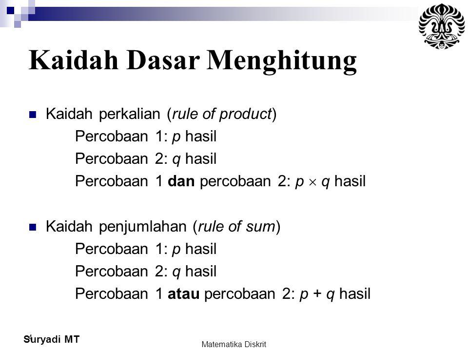 Suryadi MT 4 Kaidah Dasar Menghitung Kaidah perkalian (rule of product) Percobaan 1: p hasil Percobaan 2: q hasil Percobaan 1 dan percobaan 2: p  q h