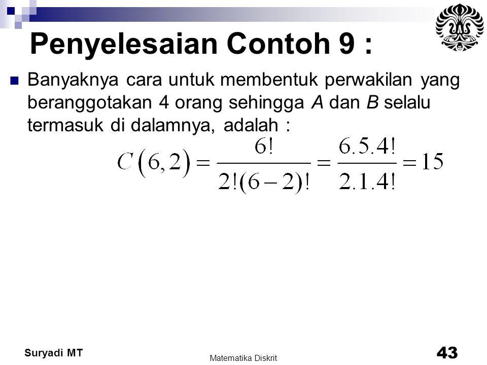 Suryadi MT Penyelesaian Contoh 9 : Banyaknya cara untuk membentuk perwakilan yang beranggotakan 4 orang sehingga A dan B selalu termasuk di dalamnya,