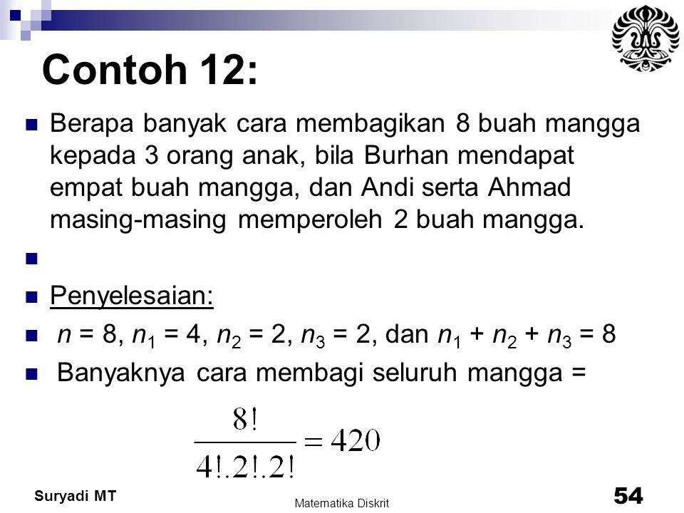 Suryadi MT Contoh 12: Berapa banyak cara membagikan 8 buah mangga kepada 3 orang anak, bila Burhan mendapat empat buah mangga, dan Andi serta Ahmad ma