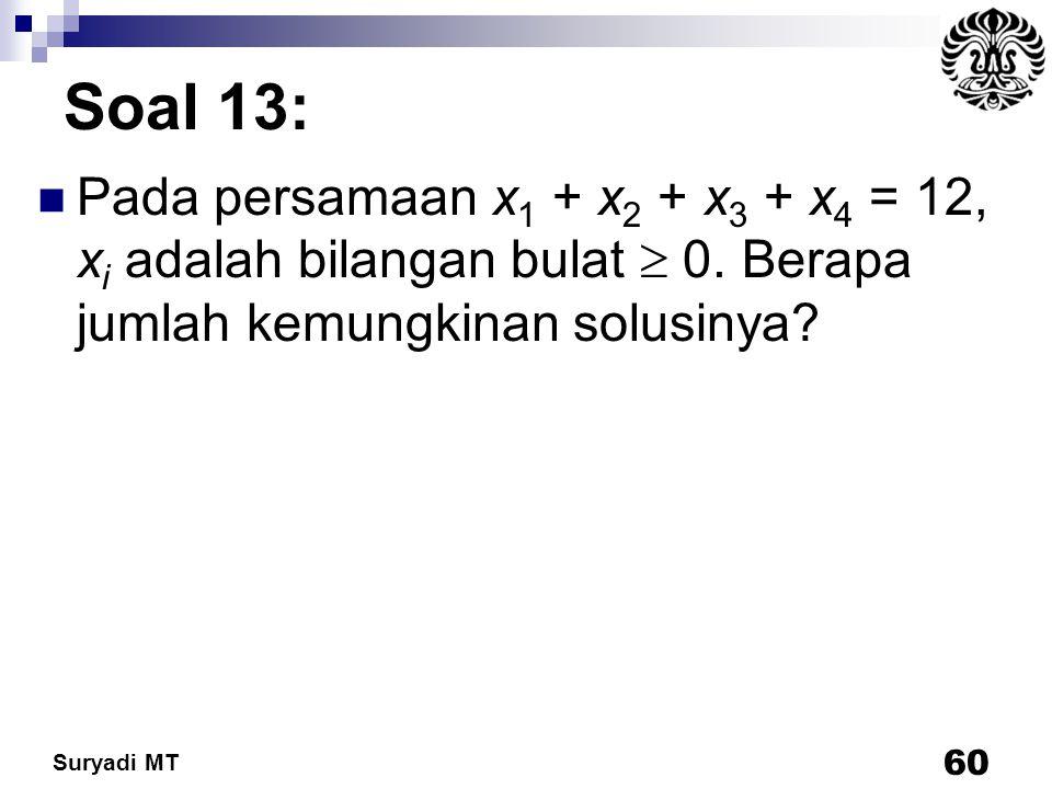 Suryadi MT Soal 13: Pada persamaan x 1 + x 2 + x 3 + x 4 = 12, x i adalah bilangan bulat  0. Berapa jumlah kemungkinan solusinya? 60