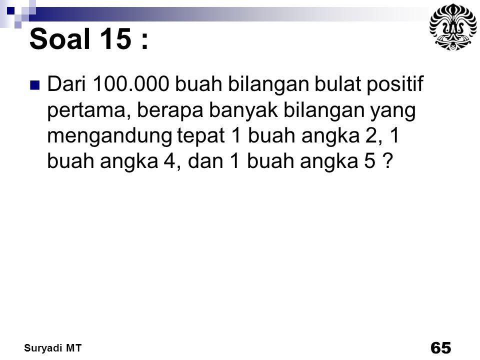 Suryadi MT Soal 15 : Dari 100.000 buah bilangan bulat positif pertama, berapa banyak bilangan yang mengandung tepat 1 buah angka 2, 1 buah angka 4, da