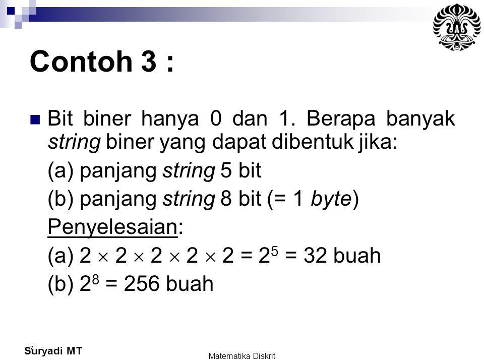 Suryadi MT Contoh 19 : Jabarkan bentuk (3x – 2) 3 Jawab : Misalkan a = 3x dan b = -2, (a + b) 3 = C(3, 0) a 3 + C(3, 1) a 2 b 1 + C(3, 2) a 1 b 2 + C(3, 3) b 3 = 1 (3x) 3 + 3 (3x) 2 (-2) + 3 (3x) (-2) 2 + 1 (-2) 3 Jadi (3x – 2) 3 = 27 x 3 – 54x 2 + 36x – 8 Matematika Diskrit 78