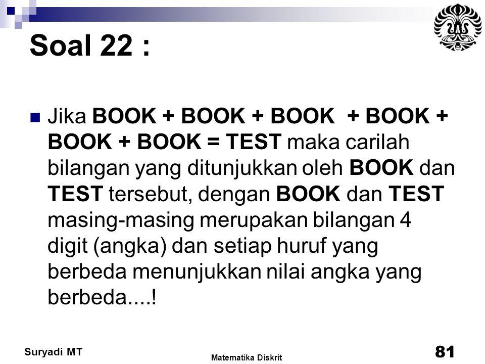Suryadi MT Soal 22 : Jika BOOK + BOOK + BOOK + BOOK + BOOK + BOOK = TEST maka carilah bilangan yang ditunjukkan oleh BOOK dan TEST tersebut, dengan BO