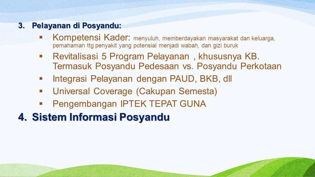 3.Pelayanan di Posyandu:  Kompetensi Kader: menyuluh, memberdayakan masyarakat dan keluarga, pemahaman ttg penyakit yang potensial menjadi wabah, dan