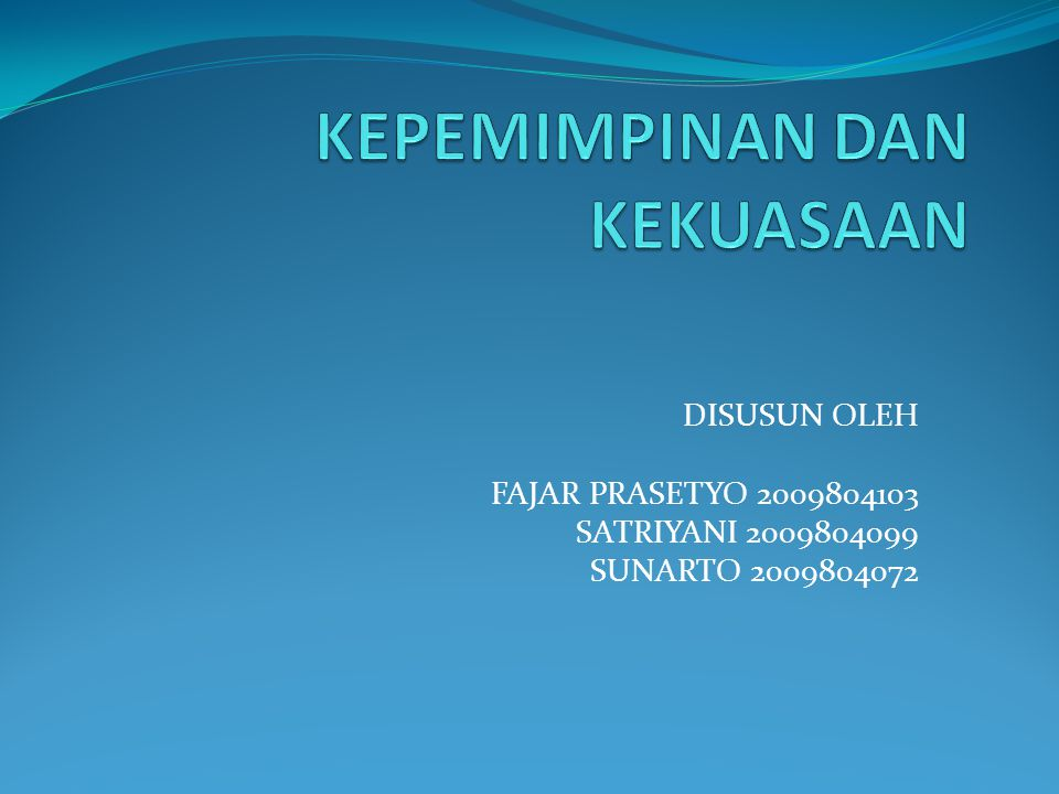 DISUSUN OLEH FAJAR PRASETYO 2009804103 SATRIYANI 2009804099 SUNARTO 2009804072