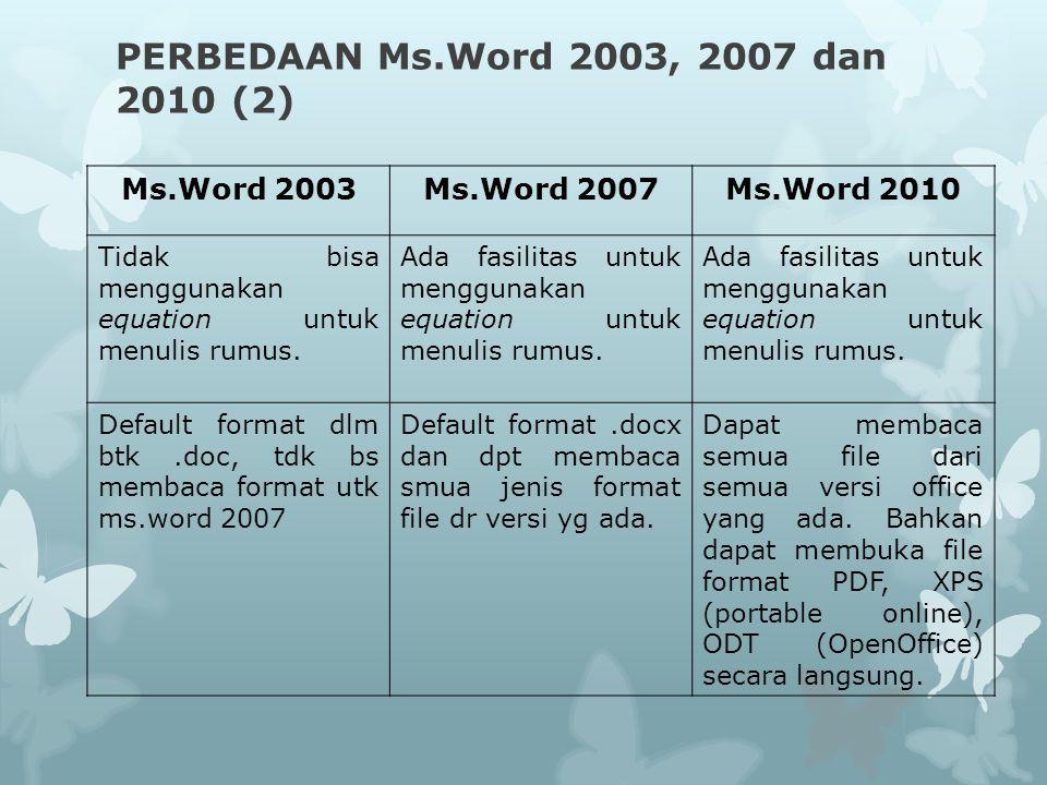 PERBEDAAN Ms.Word 2003, 2007 dan 2010 (2) Ms.Word 2003Ms.Word 2007Ms.Word 2010 Tidak bisa menggunakan equation untuk menulis rumus. Ada fasilitas untu
