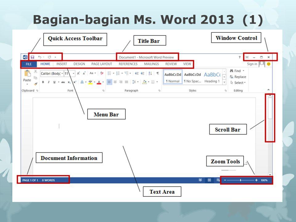 Bagian-bagian Ms. Word 2013 (1)