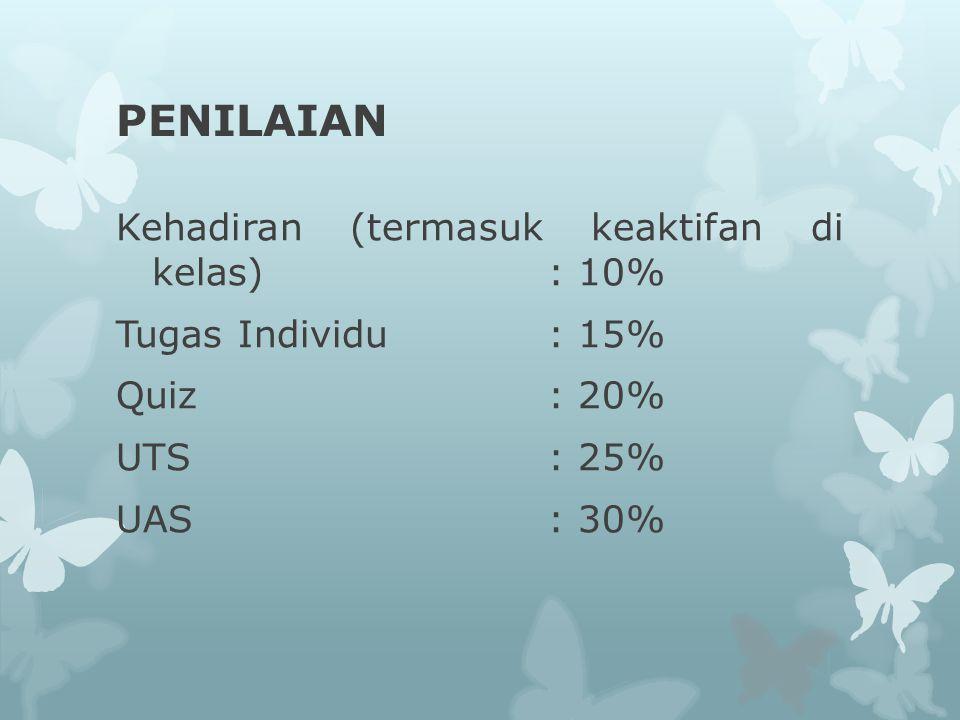 PENILAIAN Kehadiran (termasuk keaktifan di kelas): 10% Tugas Individu : 15% Quiz: 20% UTS: 25% UAS: 30%