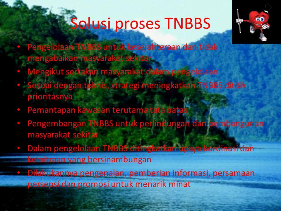 Solusi proses TNBBS Pengelolaan TNBBS untuk kesejahteraan dan tidak mengabaikan masyarakat sekitar Mengikut sertakan masyarakat dalam pengelolaan Sesu