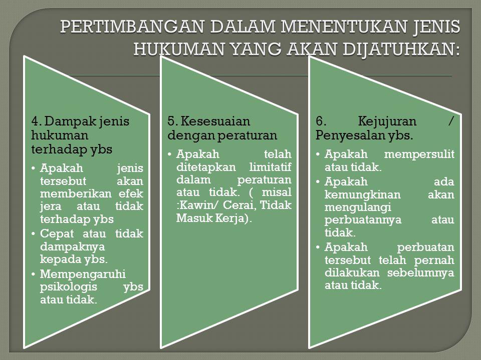 4. Dampak jenis hukuman terhadap ybs Apakah jenis tersebut akan memberikan efek jera atau tidak terhadap ybs Cepat atau tidak dampaknya kepada ybs. Me