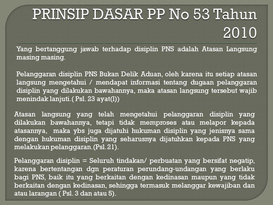 Yang bertanggung jawab terhadap disiplin PNS adalah Atasan Langsung masing masing.
