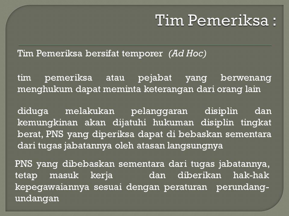 Tim Pemeriksa bersifat temporer (Ad Hoc) diduga melakukan pelanggaran disiplin dan kemungkinan akan dijatuhi hukuman disiplin tingkat berat, PNS yang