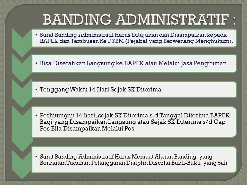 Surat Banding Administratif Harus Ditujukan dan Disampaikan kepada BAPEK dan Tembusan Ke PYBM (Pejabat yang Berwenang Menghukum).