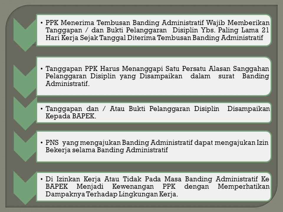 PPK Menerima Tembusan Banding Administratif Wajib Memberikan Tanggapan / dan Bukti Pelanggaran Disiplin Ybs. Paling Lama 21 Hari Kerja Sejak Tanggal D
