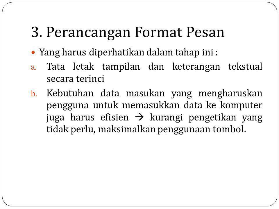 3. Perancangan Format Pesan Yang harus diperhatikan dalam tahap ini : a. Tata letak tampilan dan keterangan tekstual secara terinci b. Kebutuhan data