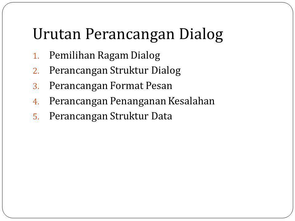 Urutan Perancangan Dialog 1. Pemilihan Ragam Dialog 2. Perancangan Struktur Dialog 3. Perancangan Format Pesan 4. Perancangan Penanganan Kesalahan 5.