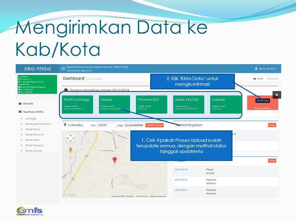 Mengirimkan Data ke Kab/Kota Lembaga yang akan diubah passwordnya 1, Klik Reset 1.