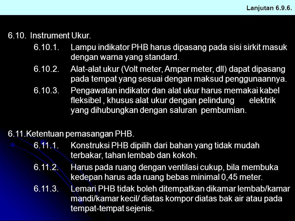 Lanjutan 6.9.6. 6.10.Instrument Ukur. 6.10.1.Lampu indikator PHB harus dipasang pada sisi sirkit masuk dengan warna yang standard. 6.10.2.Alat-alat uk