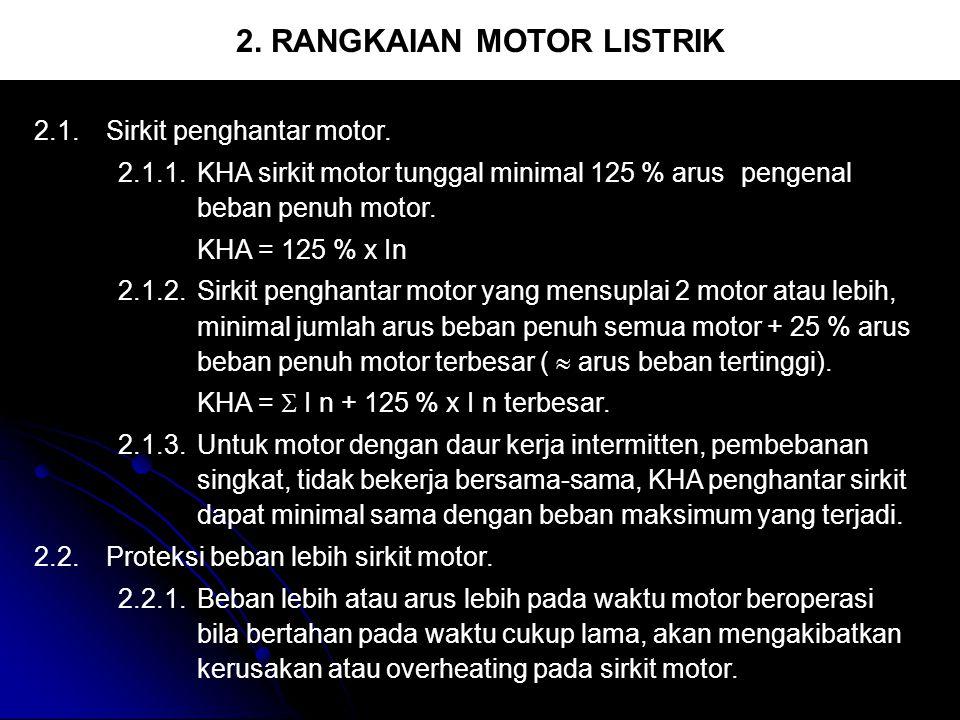 2. RANGKAIAN MOTOR LISTRIK 2.1.Sirkit penghantar motor. 2.1.1.KHA sirkit motor tunggal minimal 125 % arus pengenal beban penuh motor. KHA = 125 % x In