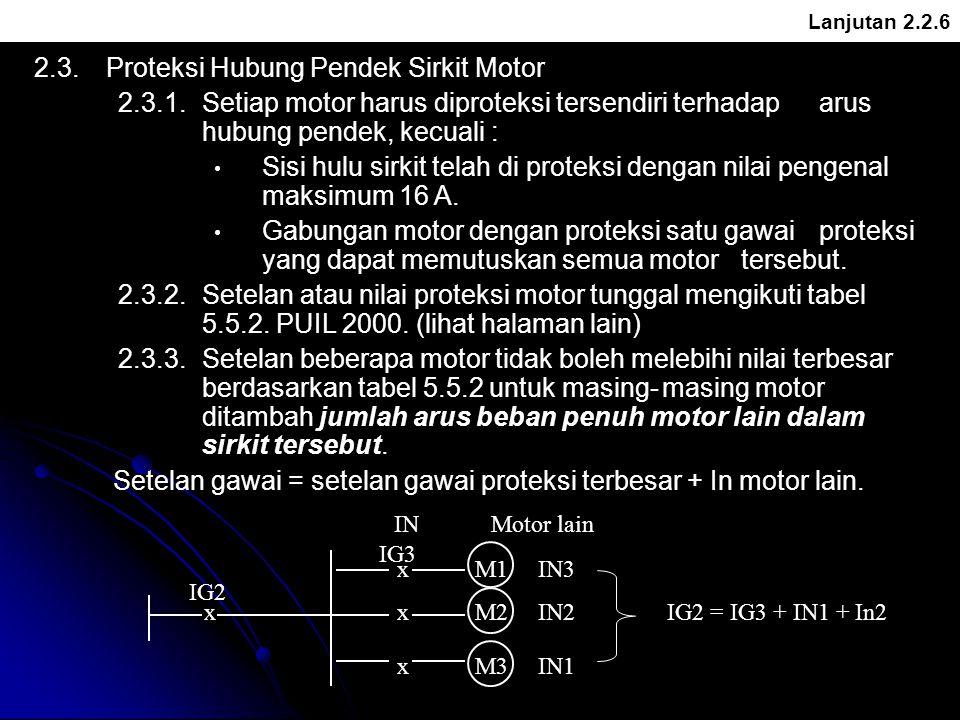 Lanjutan 2.2.6 2.3.Proteksi Hubung Pendek Sirkit Motor 2.3.1.Setiap motor harus diproteksi tersendiri terhadap arus hubung pendek, kecuali : Sisi hulu