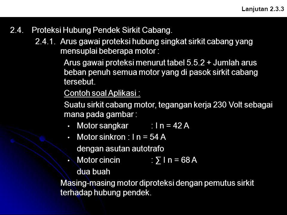 Lanjutan 2.3.3 2.4.Proteksi Hubung Pendek Sirkit Cabang. 2.4.1.Arus gawai proteksi hubung singkat sirkit cabang yang mensuplai beberapa motor : Arus g