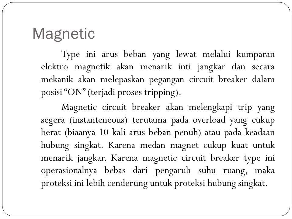 Magnetic Type ini arus beban yang lewat melalui kumparan elektro magnetik akan menarik inti jangkar dan secara mekanik akan melepaskan pegangan circui