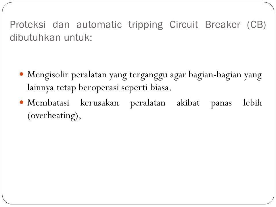 Proteksi dan automatic tripping Circuit Breaker (CB) dibutuhkan untuk: Mengisolir peralatan yang terganggu agar bagian-bagian yang lainnya tetap berop