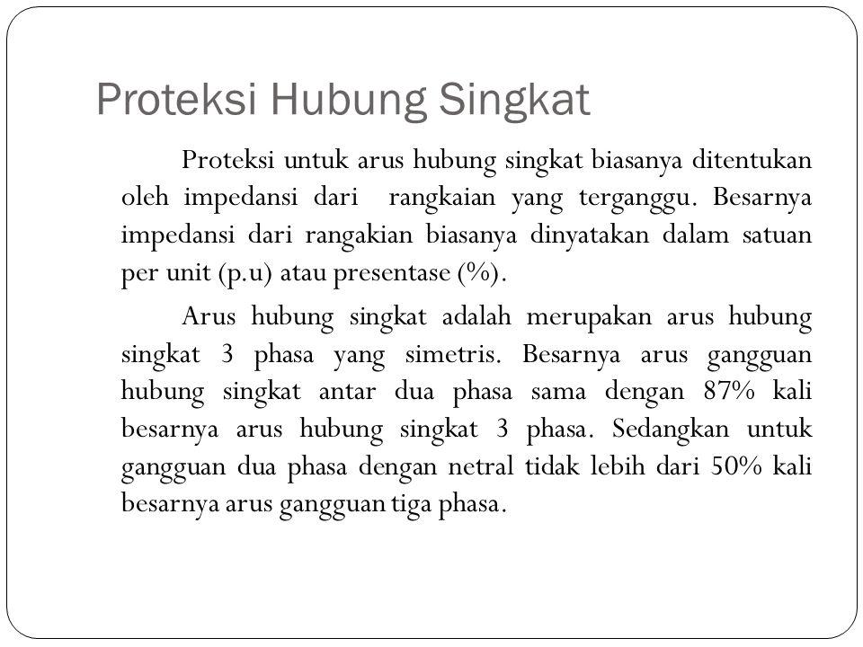 Proteksi Hubung Singkat Proteksi untuk arus hubung singkat biasanya ditentukan oleh impedansi dari rangkaian yang terganggu. Besarnya impedansi dari r
