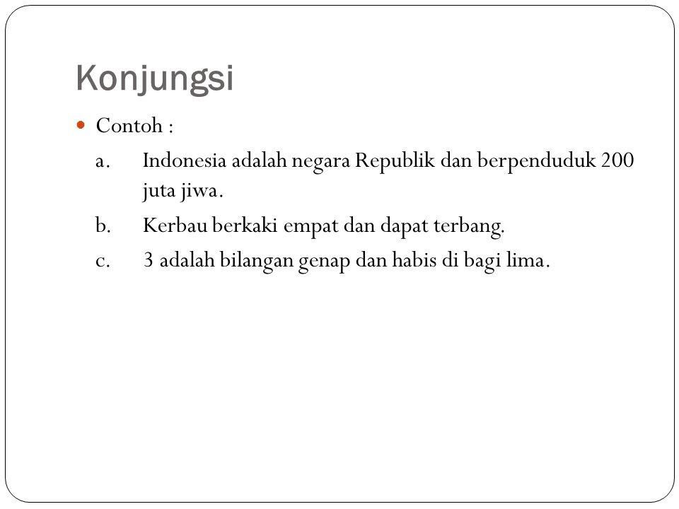 Konjungsi Contoh : a. Indonesia adalah negara Republik dan berpenduduk 200 juta jiwa. b.Kerbau berkaki empat dan dapat terbang. c. 3 adalah bilangan g