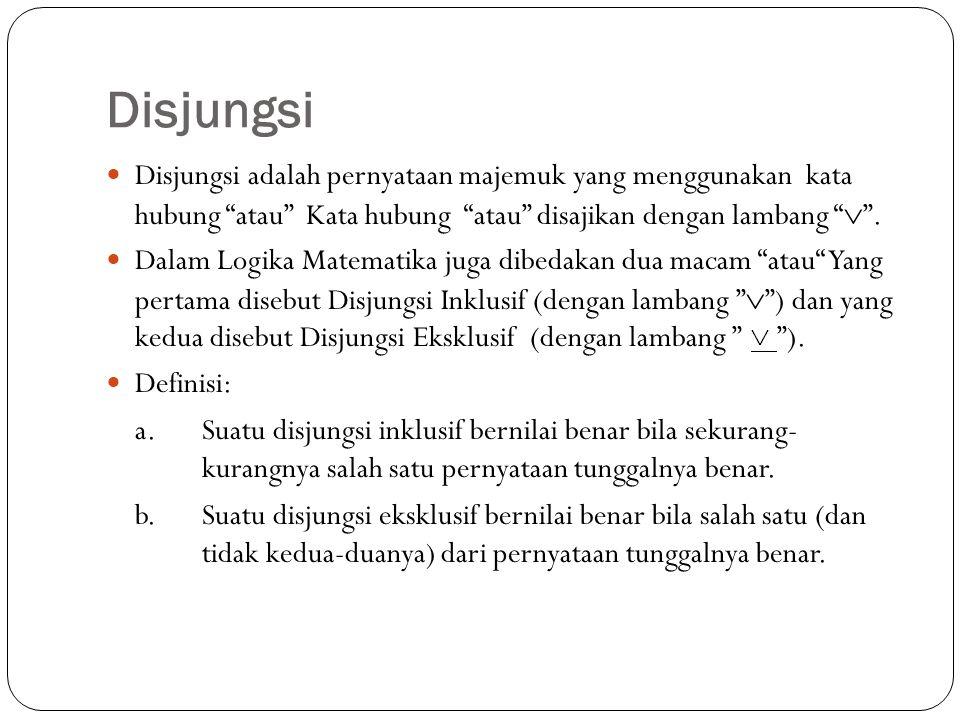 """Disjungsi Disjungsi adalah pernyataan majemuk yang menggunakan kata hubung """"atau"""" Kata hubung """"atau"""" disajikan dengan lambang """"  """". Dalam Logika Mate"""