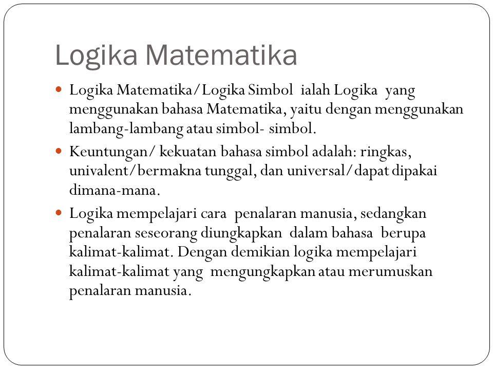 Logika Matematika Logika Matematika/Logika Simbol ialah Logika yang menggunakan bahasa Matematika, yaitu dengan menggunakan lambang-lambang atau simbo