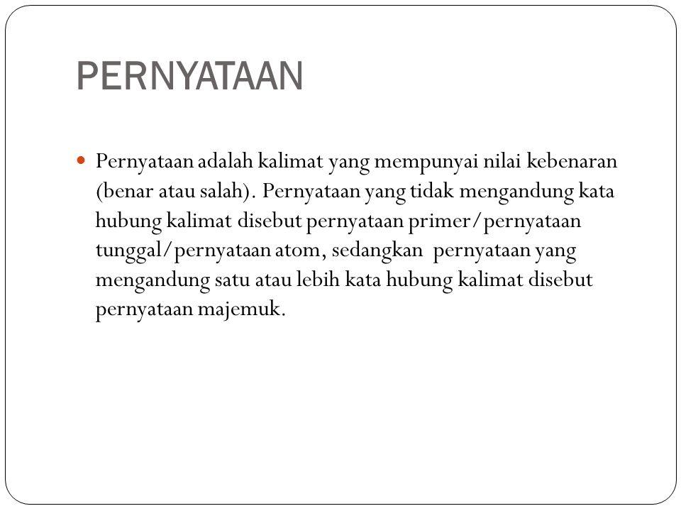 PERNYATAAN Pernyataan adalah kalimat yang mempunyai nilai kebenaran (benar atau salah). Pernyataan yang tidak mengandung kata hubung kalimat disebut p