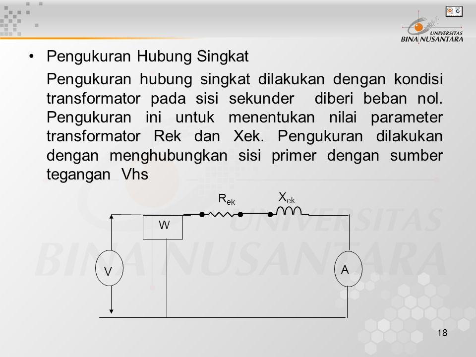 18 Pengukuran Hubung Singkat Pengukuran hubung singkat dilakukan dengan kondisi transformator pada sisi sekunder diberi beban nol. Pengukuran ini untu