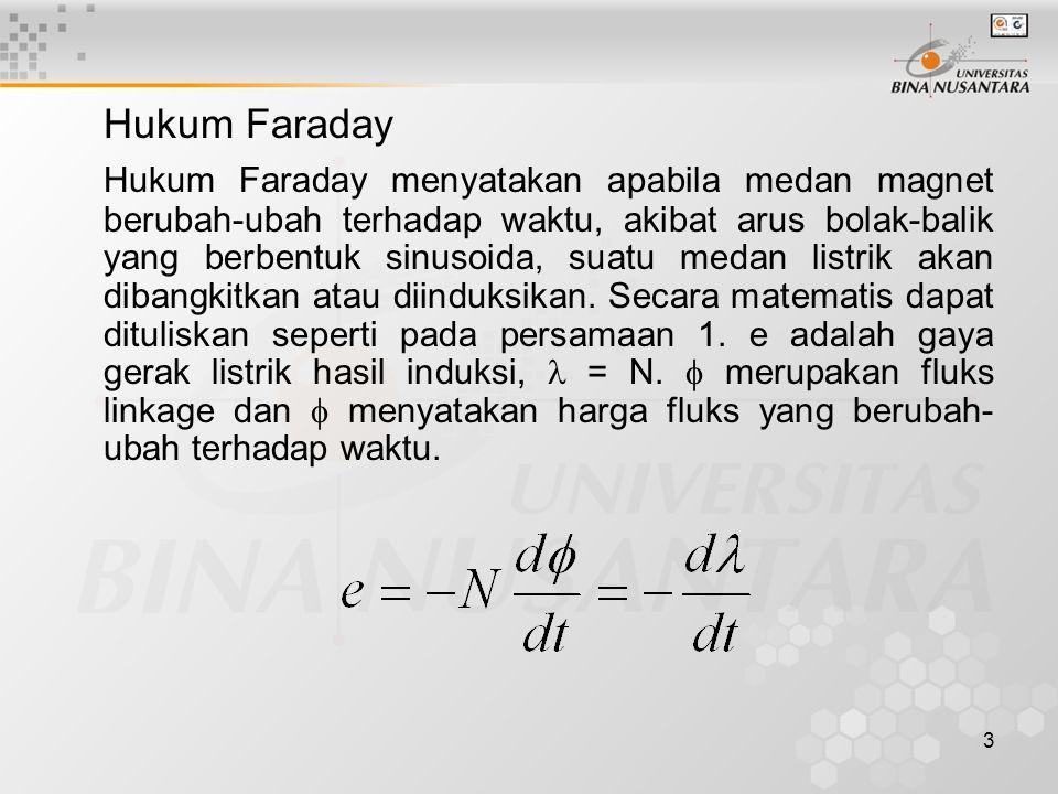 3 Hukum Faraday Hukum Faraday menyatakan apabila medan magnet berubah-ubah terhadap waktu, akibat arus bolak-balik yang berbentuk sinusoida, suatu med