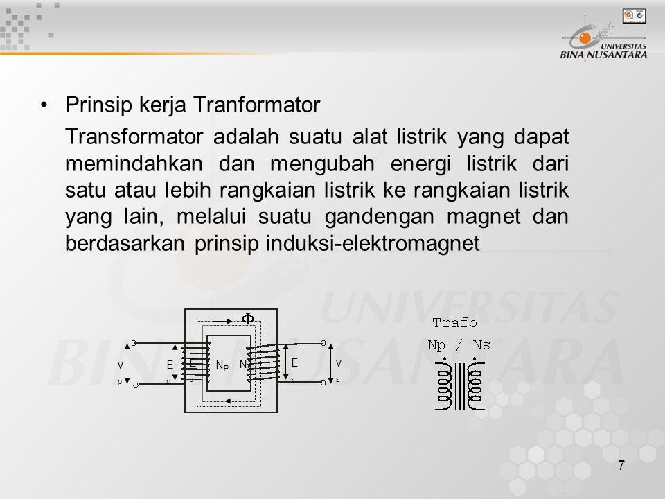 7 Prinsip kerja Tranformator Transformator adalah suatu alat listrik yang dapat memindahkan dan mengubah energi listrik dari satu atau lebih rangkaian